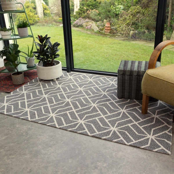 Grey Geometric Woven Recycled Cotton Rug  - Kendall