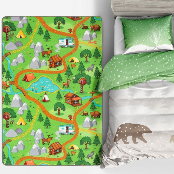 Colourful Camping Outdoors Kids Playmat