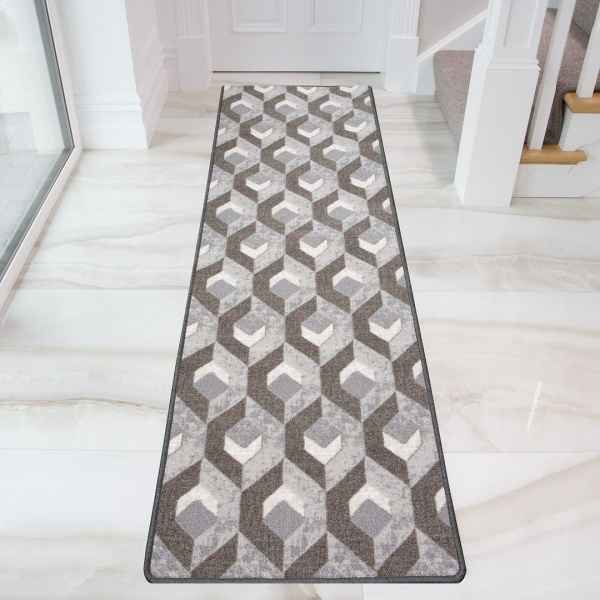 Grey Geometric Runner Washable Rug