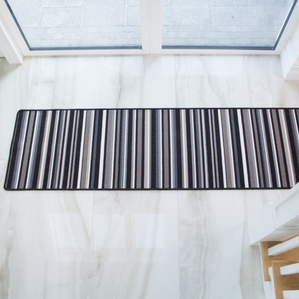 Black Stripe Washable Runner Rug