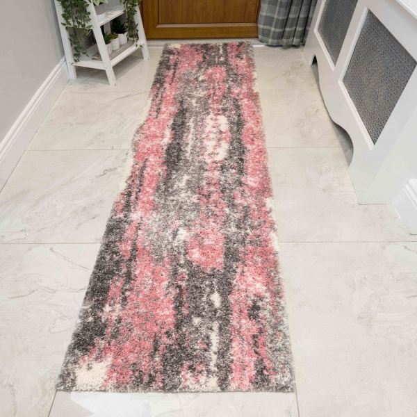 Pink Grey Distressed Mottled Shaggy Hall Runner Rug - Murano