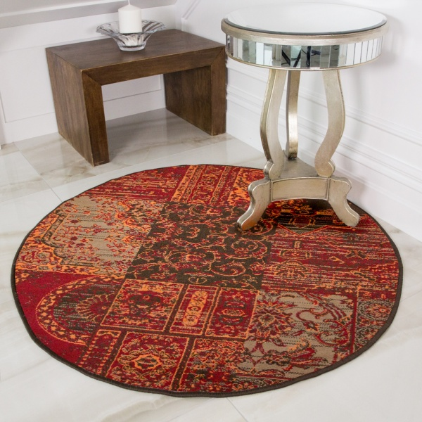 Round Circle Patchwork Wine Rug - Milan
