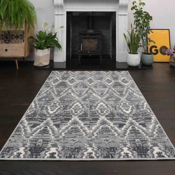 Abstract Grey Living Room Area Rug - Soho