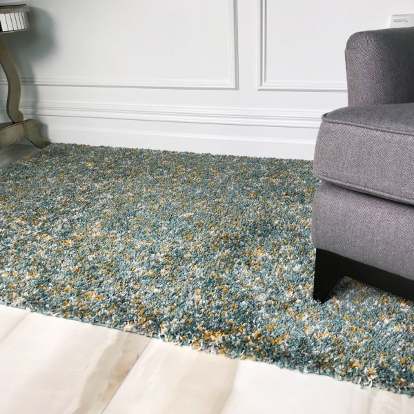 Duck Egg Blue Shaggy Rug - Murano