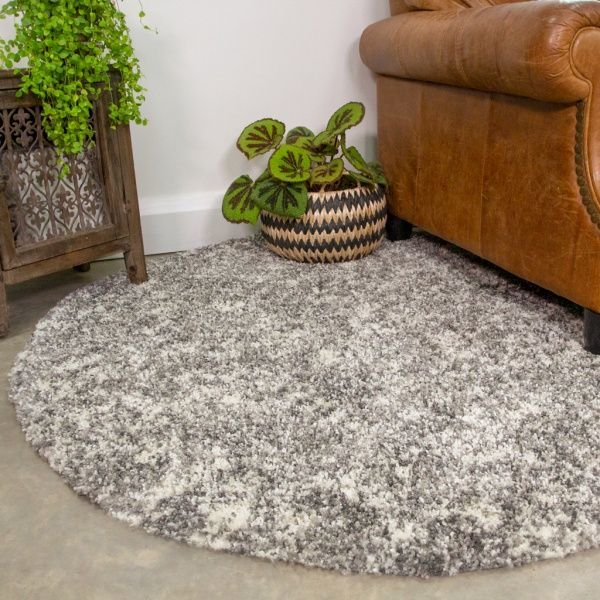 Silver Shaggy Round Circle Rug for Living Room - Murano