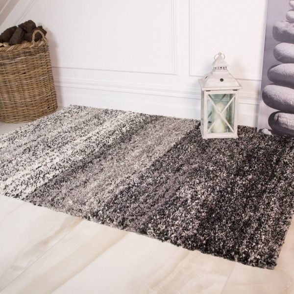 Black Stripe Shaggy Rug - Murano
