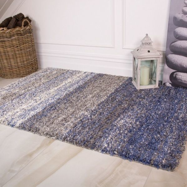 Blue Stripe Shaggy Rug - Murano
