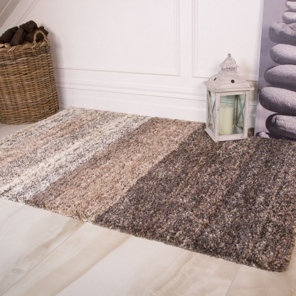 Natural Stripe Shaggy Rug - Murano