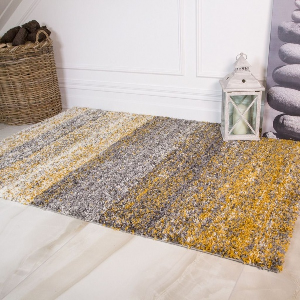 Ochre Striped Shaggy Rug - Murano