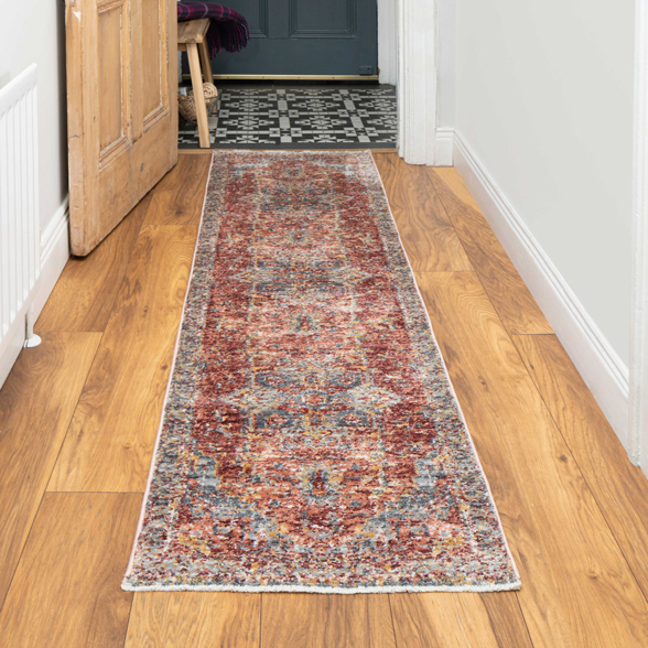 Soft Warm Terracotta Traditional Distressed Hall Runner Rug - Mystic