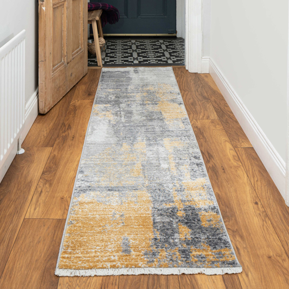 Soft Gold Grey Brushed Effect Distressed Hall Runner Rug - Mystic