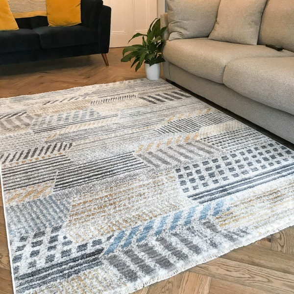 Soft Yellow Tribal Abstract Rug - Mystic