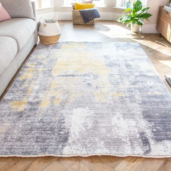Soft Gold Grey Brushed Effect Distressed Rug - Mystic