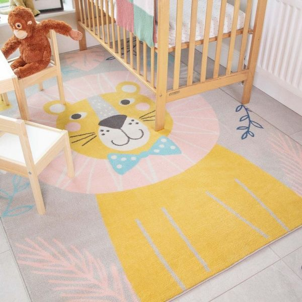 Fun Lion Jungle Soft Kids Bedroom Rugs  - Nino