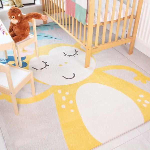 Fun Cute Monkey Soft Kids Bedroom Rugs  - Nino
