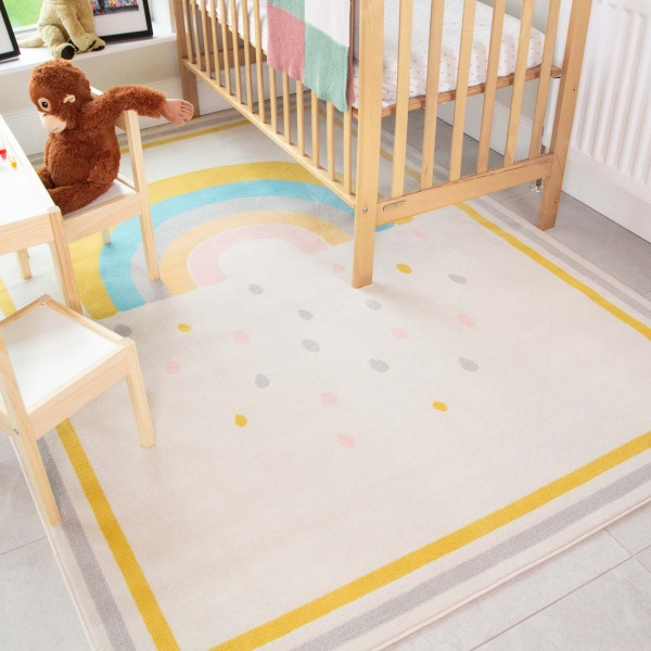 Bright Colourful Rainbow Soft Kids Bedroom Rugs  - Nino
