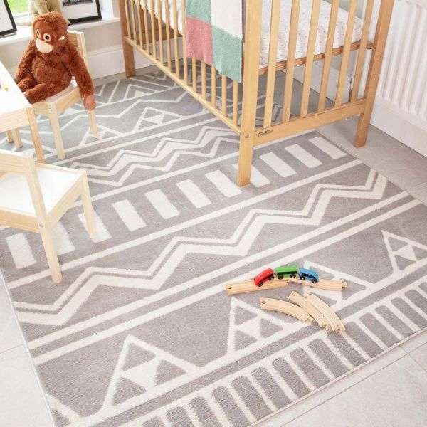 Grey Tribal Soft Kids Bedroom Rugs  - Nino