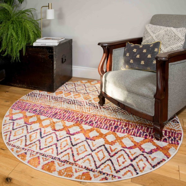 Round Circle Faded Distressed Colourful Aztec Pattern Rug - Oscar