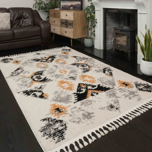 Mustard Grey Distressed Moroccan Living Room Rug - Souk