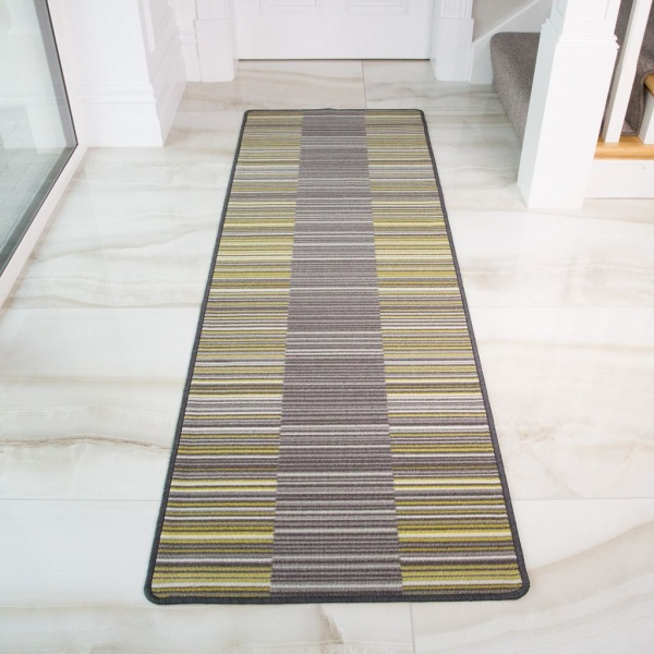 Ochre Geometric Washable Runner Rug