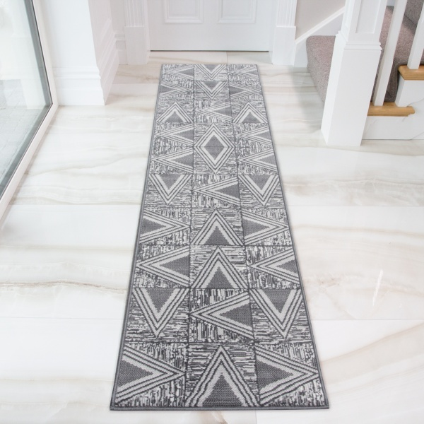 Grey Geometric Triangle Hall Runner Rug - Milan