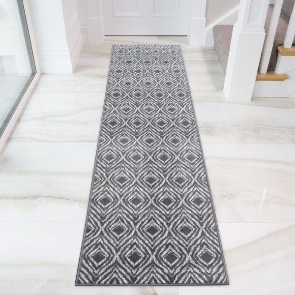 Retro Geometric Grey Hall Runner Rug - Milan