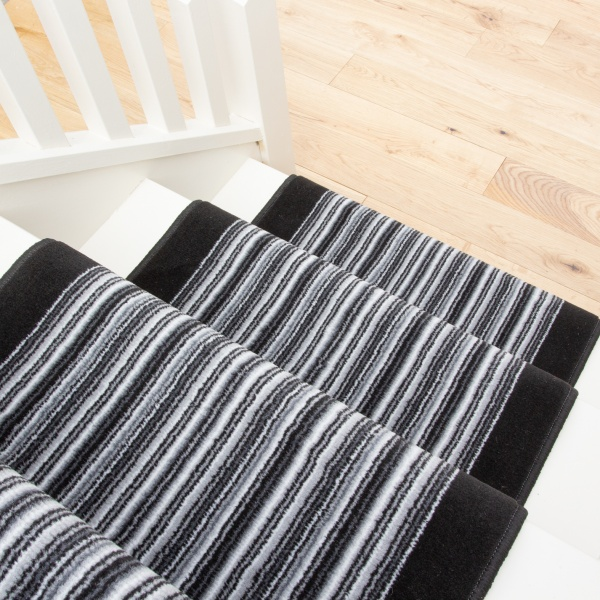 Black White Stripey Stair Carpet Runner - Cut to Measure