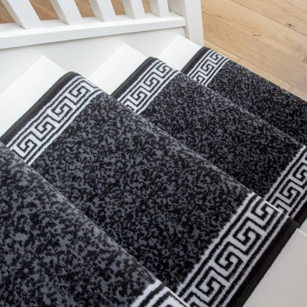 Black Border Stair Carpet Runner - Cut to Measure
