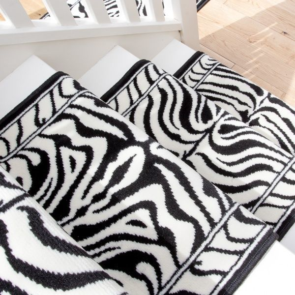 Black White Animal Print Stair Carpet Runner - Cut to Measure
