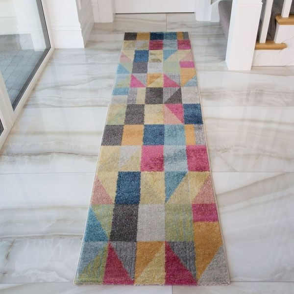 Geometric Pop Art Runner Rug - Vivid