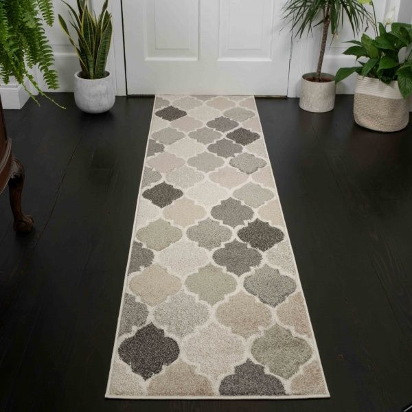 Soft Moroccan Tiled Pattern Natural Beige Hall Runner Rugs - Westland