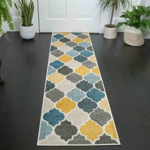 Soft Moroccan Tiled Pattern Yellow Blue Hall Runner Rugs - Westland