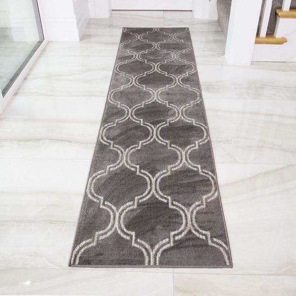 Outdoor Geometric Grey Runner Rug - Zen