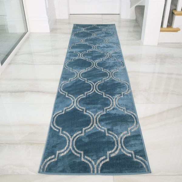 Outdoor Geometric Teal Runner Rug - Zen