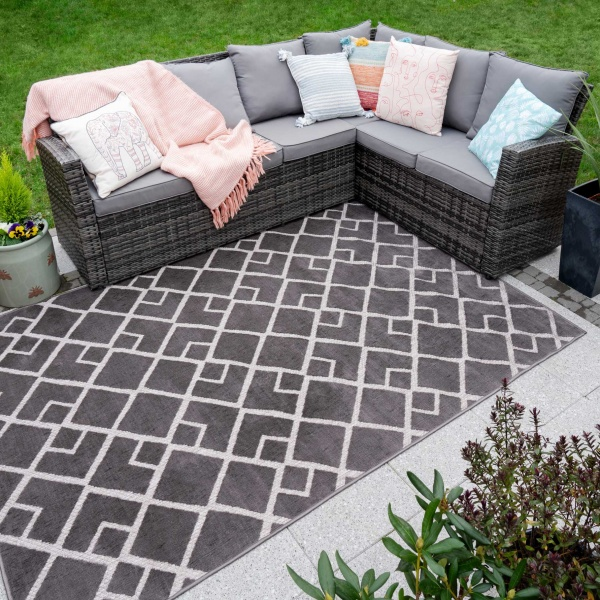 Soft Textured Outdoor Grey Geometric Rug - Zen