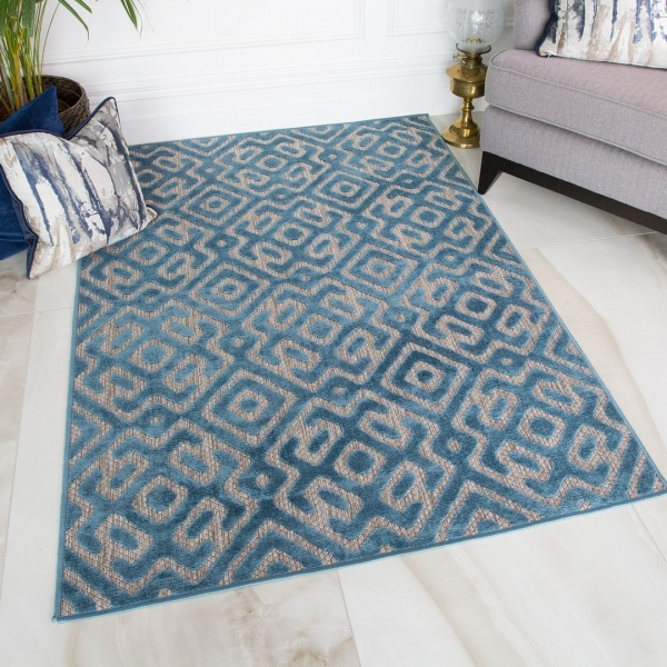 Geometric Teal Outdoor Rug - Zen
