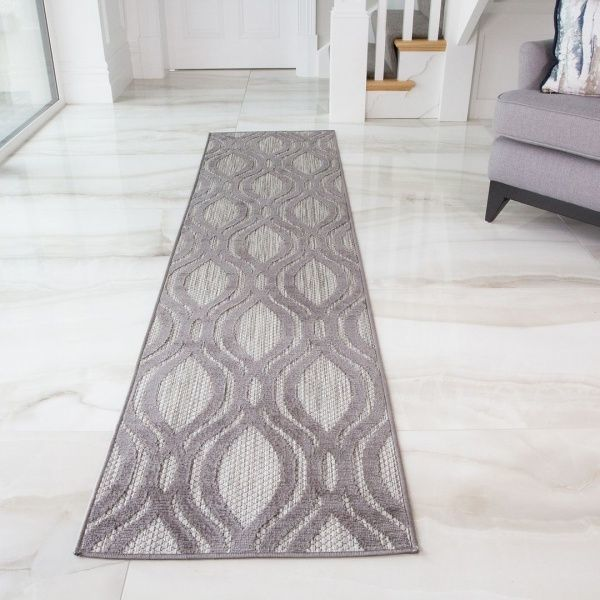 Outdoor Scandi Grey Runner Rug - Zen
