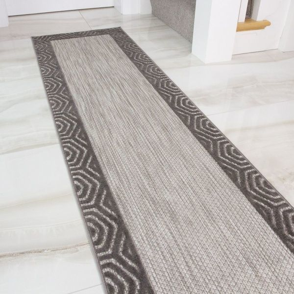 Outdoor Grey Flatweave Runner Rug - Zen