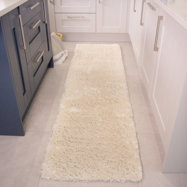 Super Soft Luxury Cream White Shaggy Runner Rug - Aspen