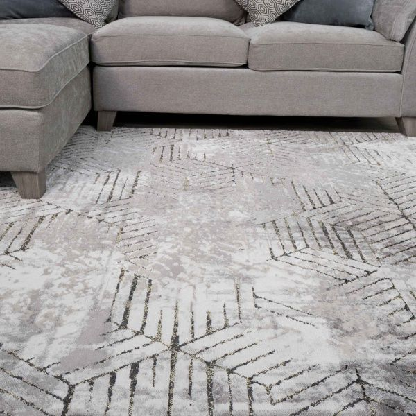Modern Gold Abstract Geometric Living Room Rugs - Hatton