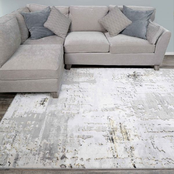 Modern Gold Abstract Distressed Living Room Rugs - Hatton