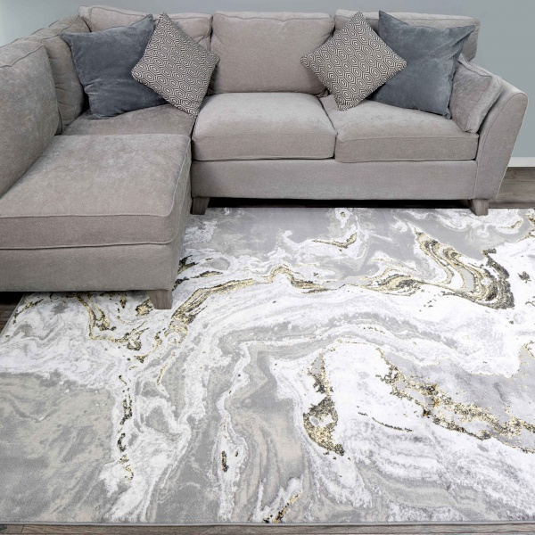Gold Abstract Marble Pattern Living Room Rugs - Hatton