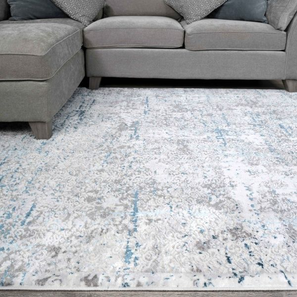 Modern Abstract Distressed Rugs in Blue Grey - Hatton