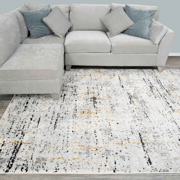 Modern Abstract Distressed Rugs in Gold Grey - Hatton
