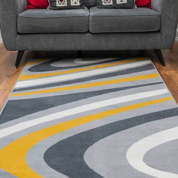Yellow Grey Swirl Pattern Living Room, Gray And Yellow Rugs For Living Room