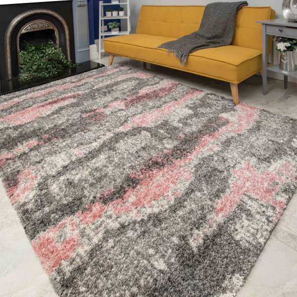 Pink Grey Cloud Mottled Shaggy Living Room Rug - Murano