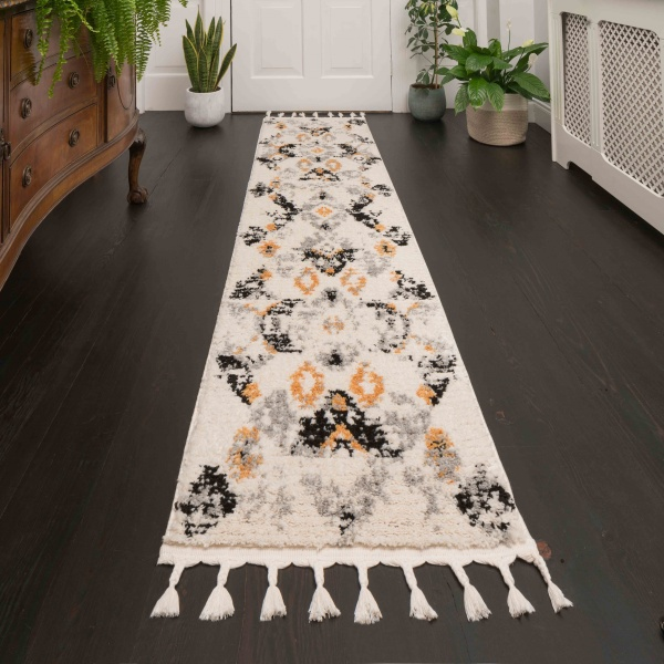 Mustard Grey Distressed Moroccan Hall Runner Rugs - Souk