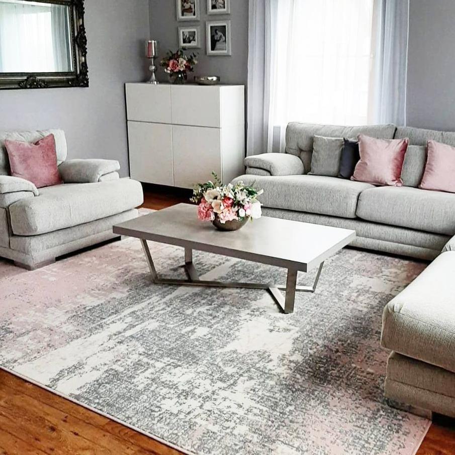 Pink Grey Distressed Worn Look Living, Living Room Rugs
