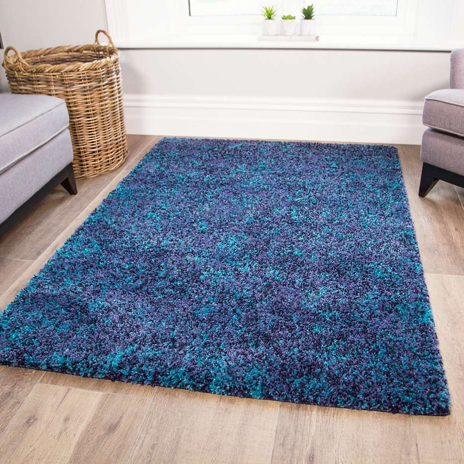 Super Soft Teal Shaggy Rug for Living Room   Murano