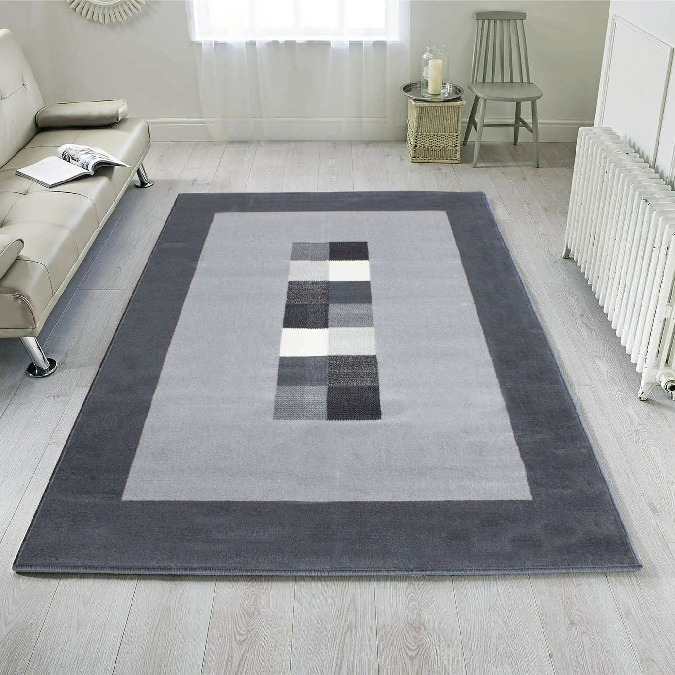 Grey Bordered Squares Large Living Room, Large Living Room Rugs